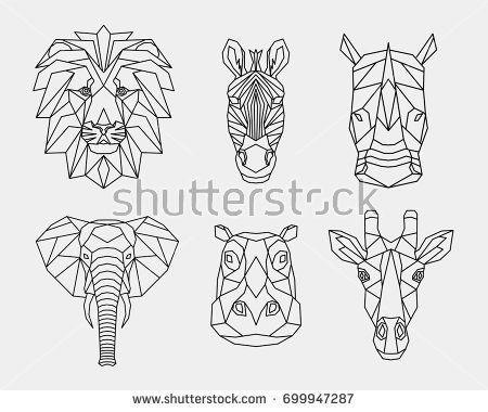 Stellen Sie Polygontiere von Afrika ein. Die geometrischen Köpfe eines Löwen, Nashorns, Zebras, Giras