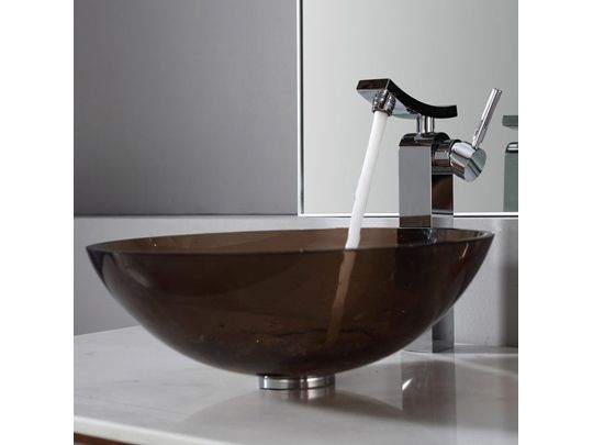 Glass Vessel Sink And Faucet Combinations Clear Brown Glass Vessel Sink And  Unicus Faucet Chrome