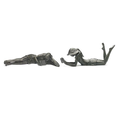 Jonathan Sanders Large Reading Boy (20cm long) and Large Lying Girl (20.5cm long).  Cast in bronze in limited editions of 250 by Nelson & Forbes.
