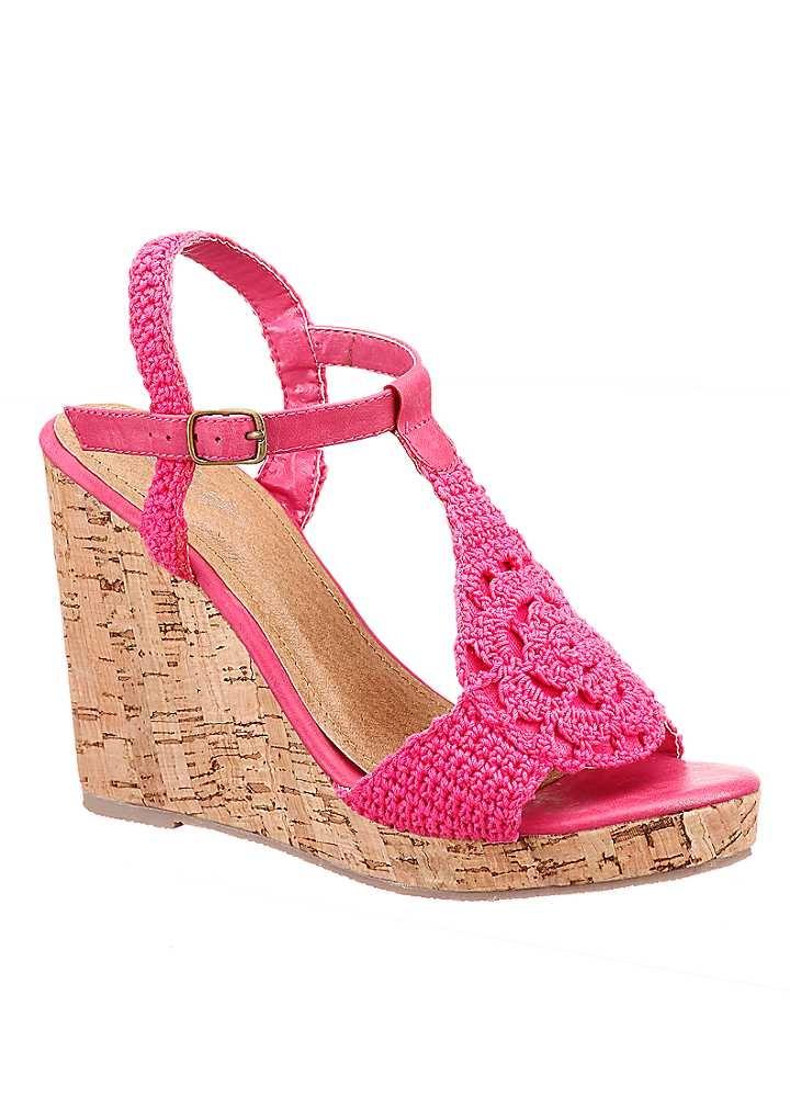 PINK Crochet Wedge Sandals
