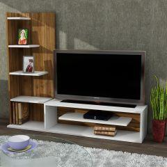Sleek TV Ünitesi Beyaz Ceviz
