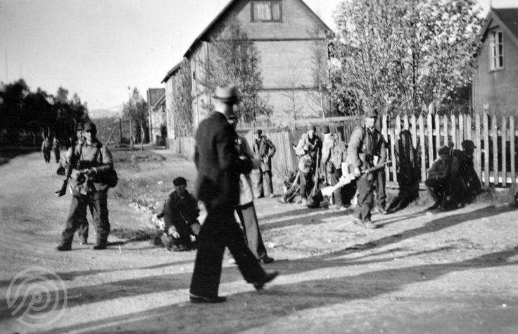 WW2 Norway 1940. Norwegian soldiers in the streets of Narvik