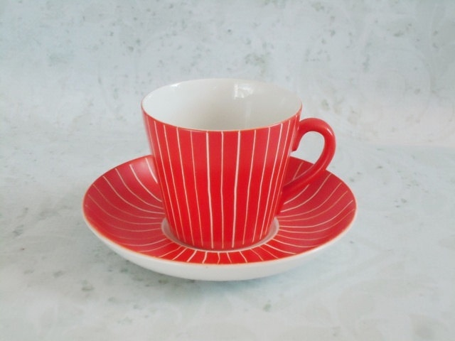 MCM Upsala Ekeby Gefle Swedish Espresso Teacup and Saucer