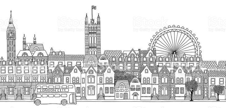 Seamless banner of London's skyline royalty-free stock vector art