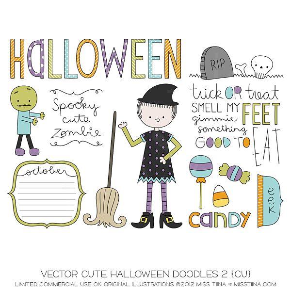 Vector Cute Halloween Doodles 2 {CU}