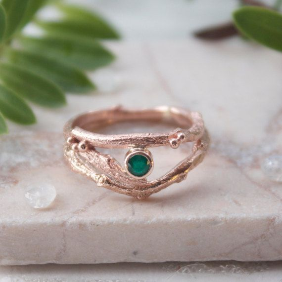Rose Gold and Emerald Engagement Ring Set by CarolineBrookJewelry
