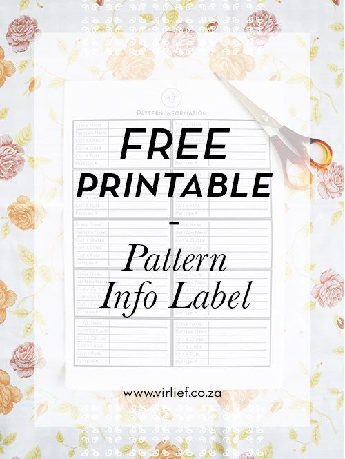 Free Printable for keeping you DIY patterns in check. Print, paste, mark - easy! || by the Vir Lief blog