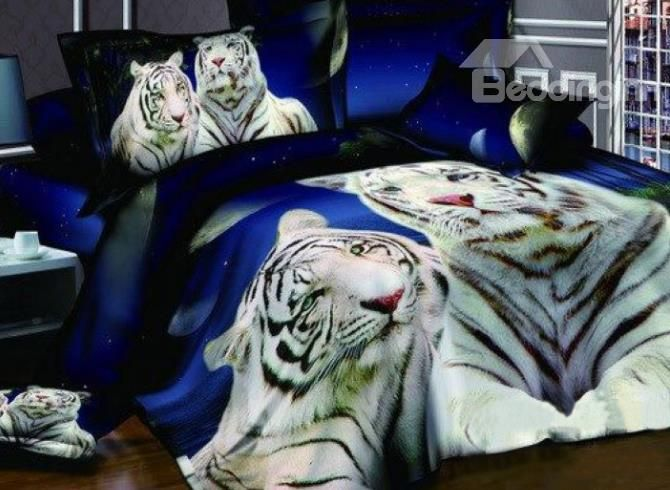 New Arrival Cool White Tigers Print 4 Piece Bedding Sets #3DBeddingSets #AnimalPrintBeddingSets @bedding inn