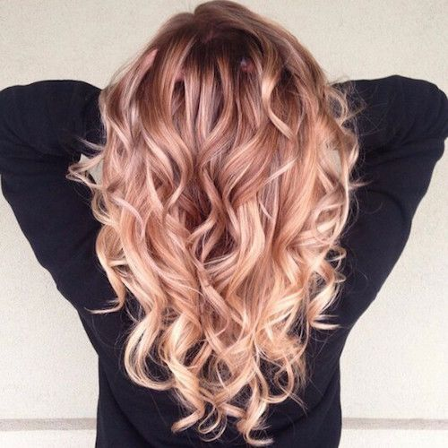 curly peach ombre