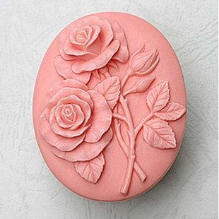 Double Rose Handmade Soap Mold Silicone Flower Soap Molds