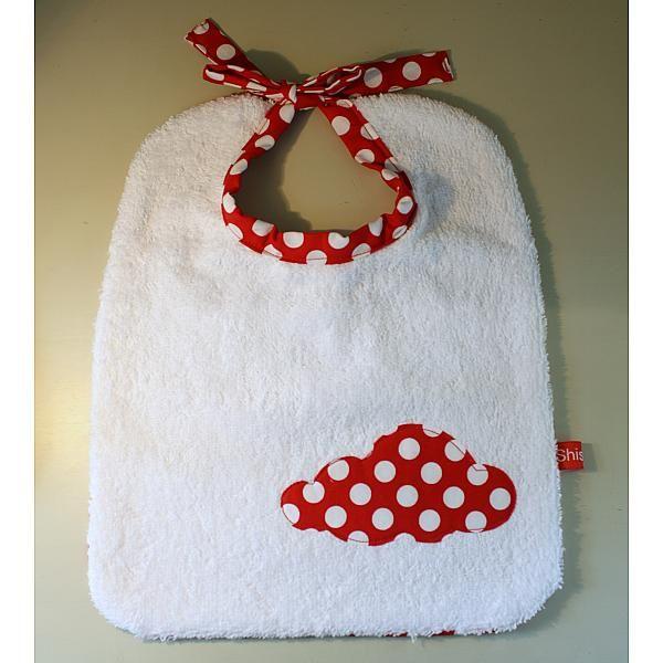 Création Shishmu - Bavoir éponge à liens, serviette bébé, bavoir blanc, pois rouges, nuage, bavoir fille, bavoir garçon, bavoirs Baby bib with a cloud