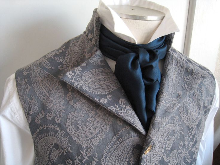 63in Silk Cravat, in navy blue.  Great for Regency, Victorian, and Steampunk mens costumes