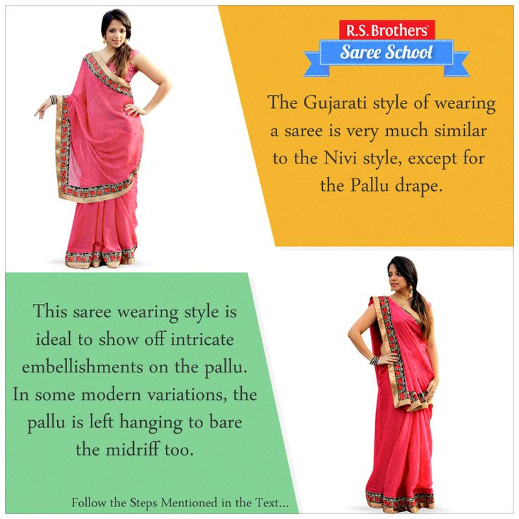 """#SareeSchool - Gujarati Style The Gujarati style of wearing a saree is very much similar to the #Nivi style, except for the """"Pallu drape"""". Below steps describes how to Drape a Saree in Gujarati style:  1) Tuck the plain end of the saree into the underskirt and wrap it around from right to left.  2) Make 6-7 pleats of about 5 inches and tuck them in just below the navel. The pleats should face towards your right.  For More Info Visit : goo.gl/yYgWOz"""