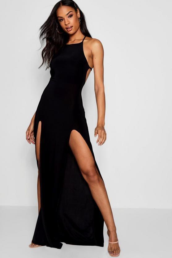 Tall Brooke Strappy Split Front Maxi Dress Boohoo Party Dress