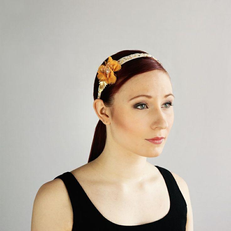 av Annina SS 2014 fascinator, orange flower, beadings www.avannina.fi #avannina #fascinator