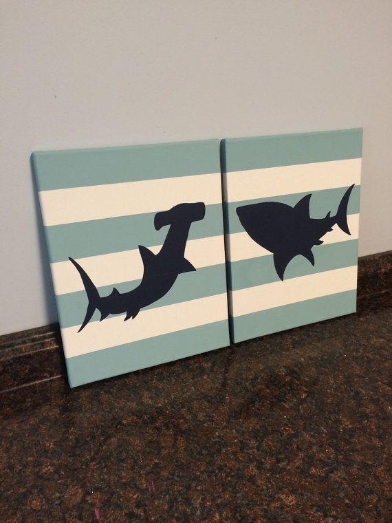 shark nursery shark toddler room wall art por JessieAnnCreations