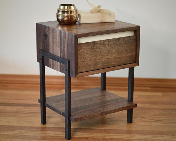 Modern Walnut Side Table Night Stand White Dovetailed Drawers