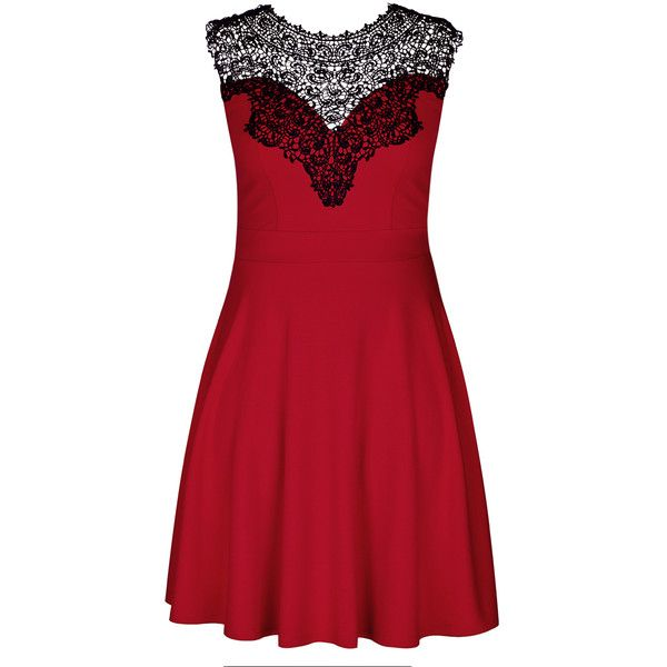City Chic Lace Love Dress (4,230 INR) ❤ liked on Polyvore featuring dresses, lacy dress, lacy red dress, red a line dress, a line dresses and red dress