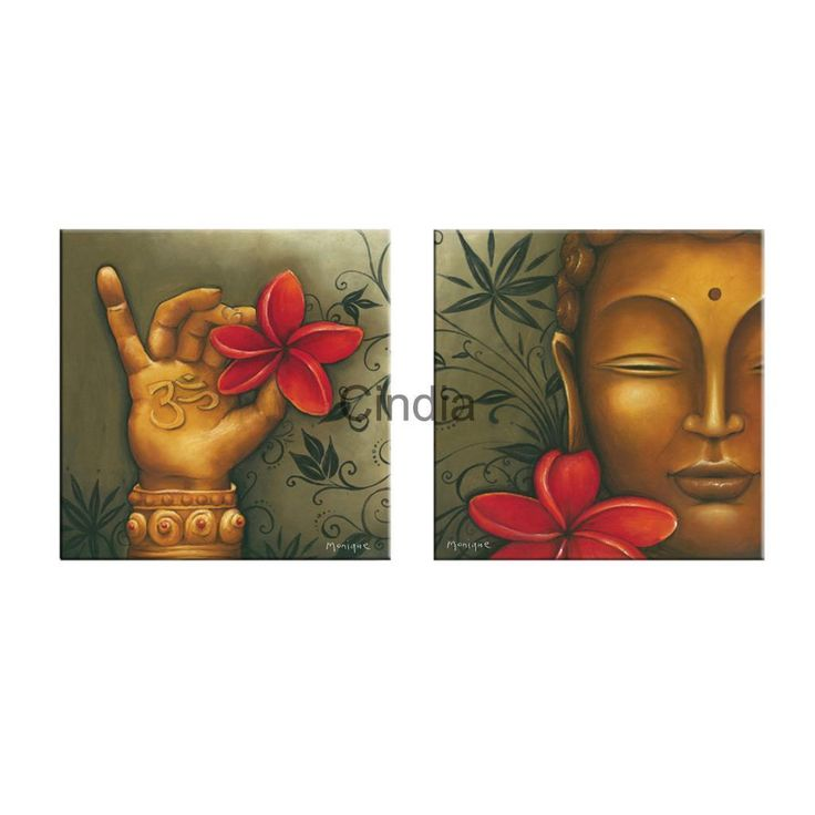 Unframed Canvas Print Painting Wall Hanging Mural Poster #17 Buddha & Flower