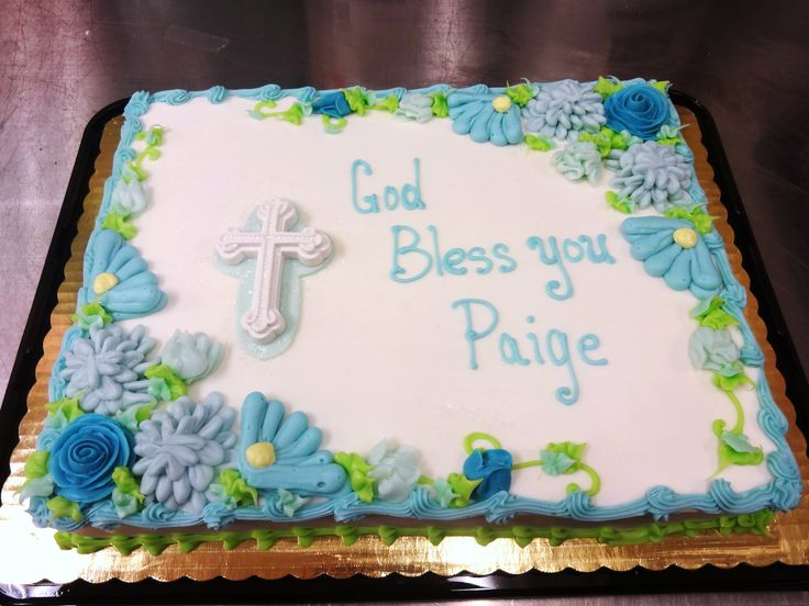 Baptism, Christening, 1st Communion cake blue flowers - boy or girl - Erin Miller Cakes - https://www.facebook.com/erinmillercakes