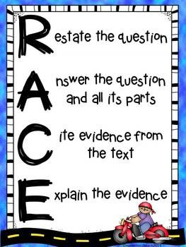 RACE POSTER {FREE} -Balanced Literacy, Writing, Reading Strategies 2nd, 3rd, 4th, Homeschool Curricula, Printables, Posters...Part of the Common Core requires that students answer text dependent questions by citing evidence from the text and explaining their evidence....This download includes 3 versions of the RACE poster that reminds students what to include in their written responses.