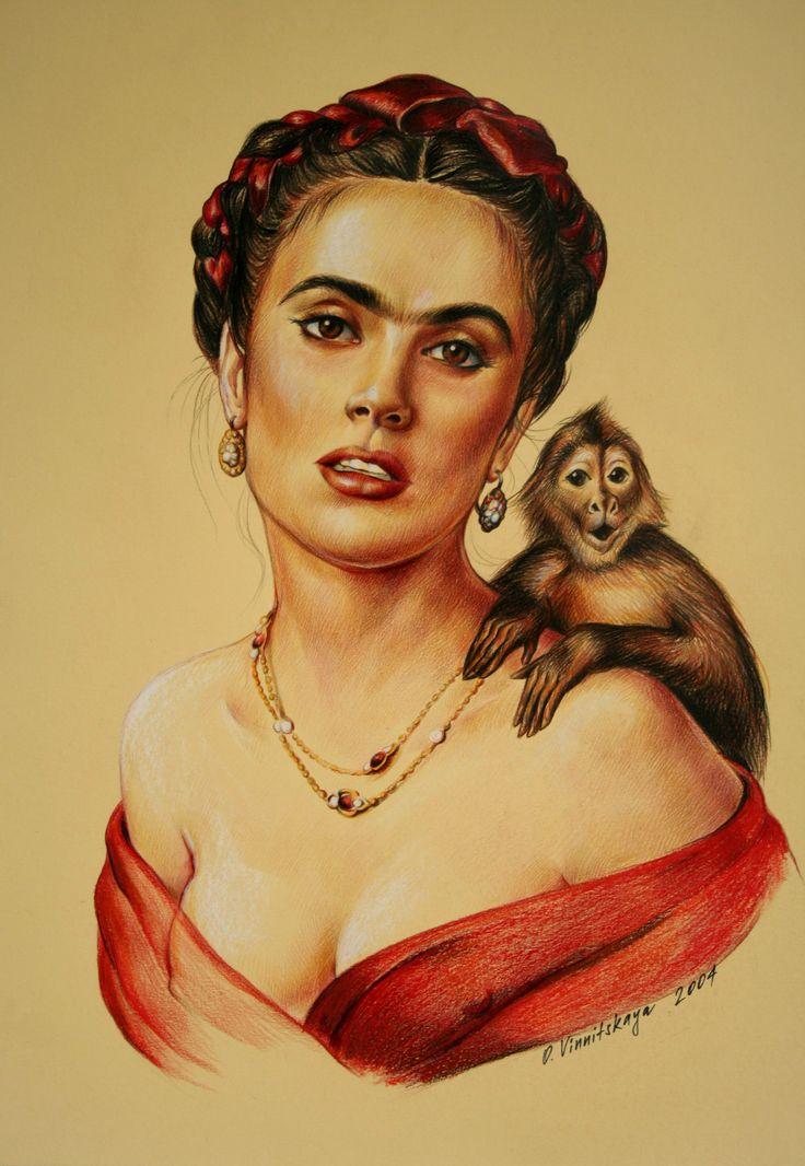 Olga Vinnitskaya. Frida Kahlo, Buntstifte auf Fotokarton.
