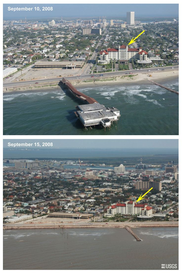 The Balinese Room before and after Hurricane Ike.