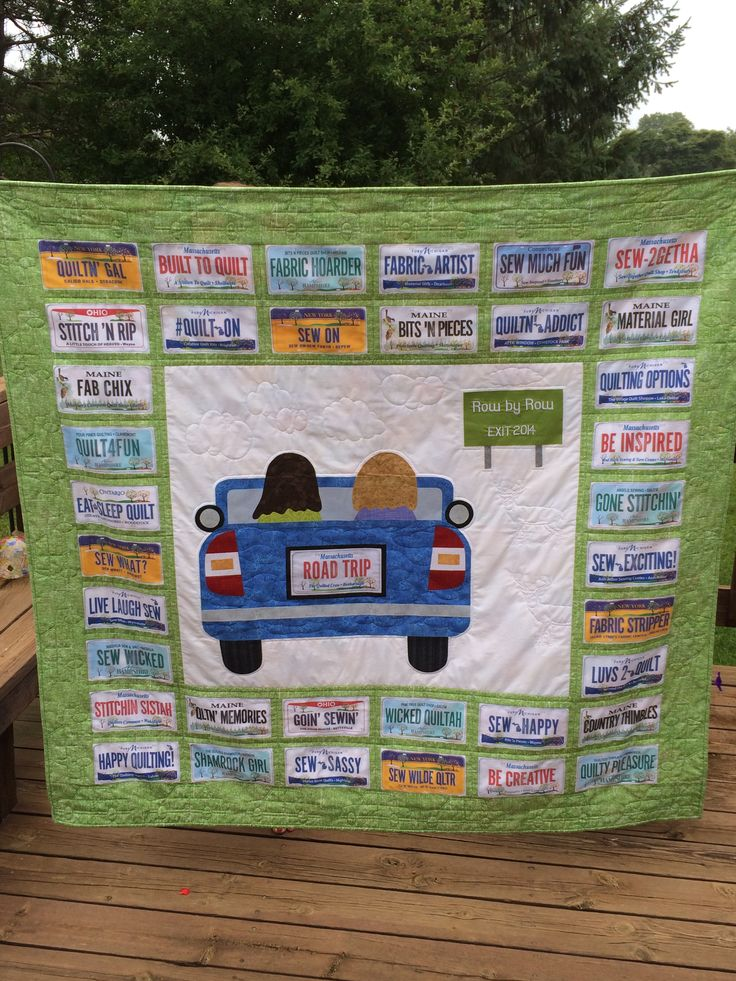 Road Trip Quilt from Handcrafts By Jennifer. The pattern was designed using FabricPlates designed by Debra Gabel of Zebra Patterns and can be purchased from shops participating in Row by Row Experience. The pattern also has instructions for a car with regular borders for those that only have collected 1 fabric plate.