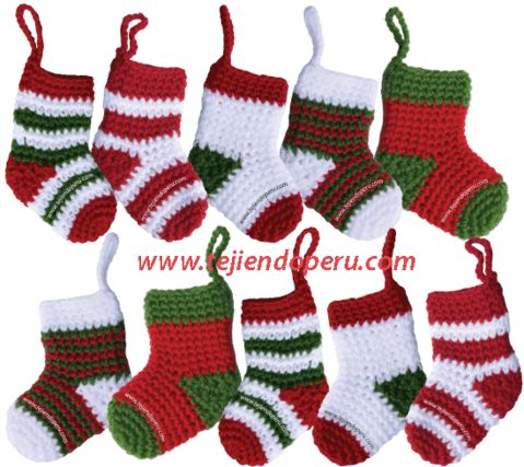 Tutorial: botitas o medias de Navidad tejidas a crochet (Christmas socks)!!