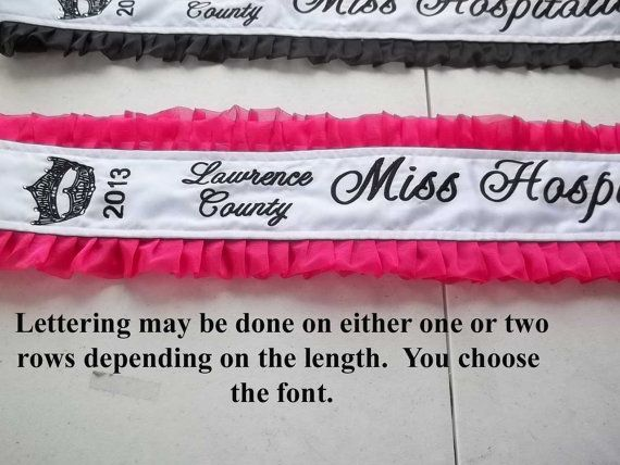 Satin Pageant Sash with Added Crown Embroidery and by SewingbyEmma