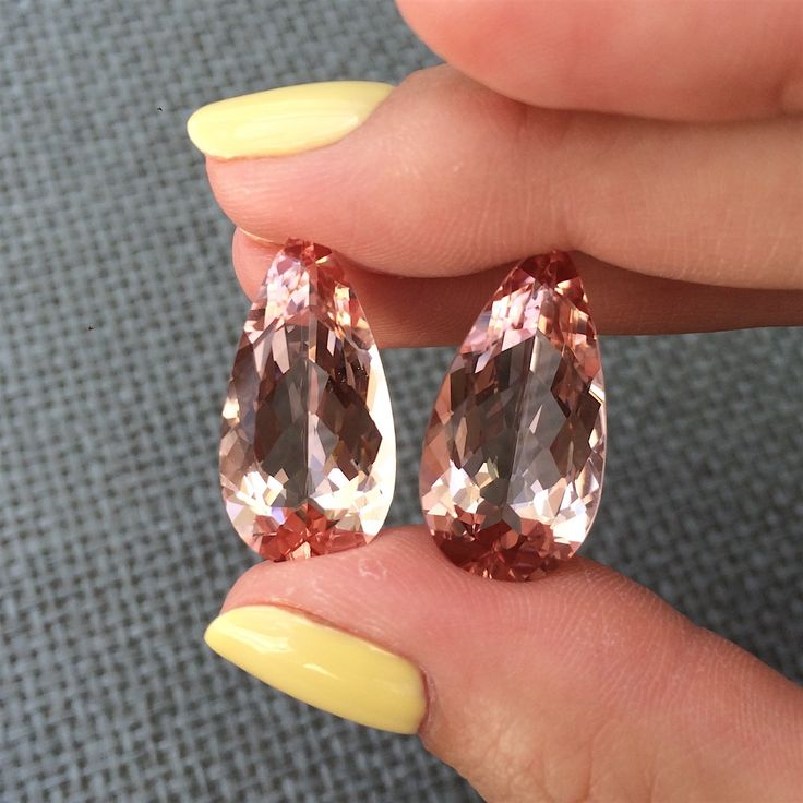 Pair of morganites for earrings  Color: delicate pink Clarity: VVS Origin`: Brazil Unheated Pear cut form Price:  1207 $  Lovely pair of morganites for delicate earrings! Worldwide shipping!!!  #morganite #morganites #morganitering #morganitstone #morganit #morganitejewelry #pinkberyl #earrings