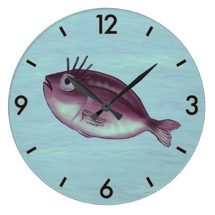 Funny Fish With Fancy Eyelashes Digital Art Large Clock - animal gift ideas animals and pets diy customize