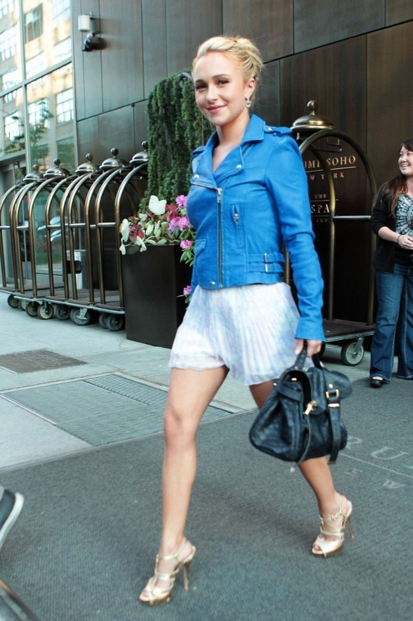Here are 14 pics of HAYDEN PANETTIERE Leggy Candids Leaving Hotel in New York. The hot actress is wearing a frail loose white mini skirt and blue jacket with high heels.