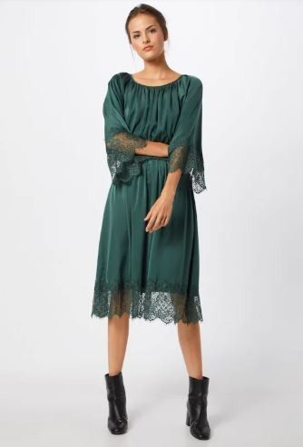 de2f73ab8e2 Teal green lace midi dress+black ankle boots. Spring Dressy Casual   Date    Night Date   Party Outfit 2019