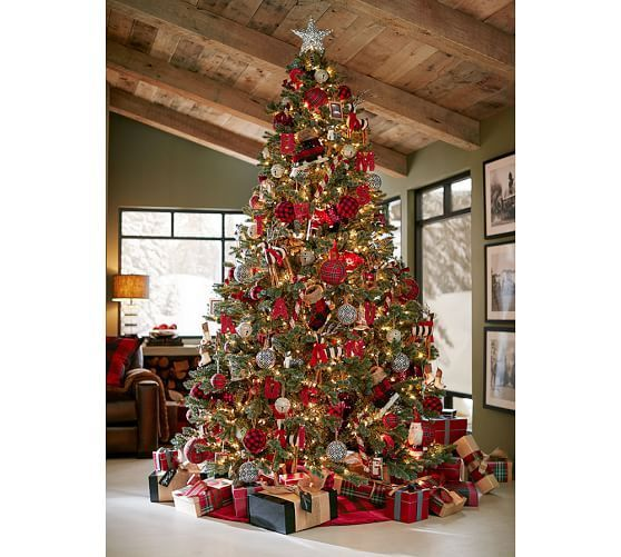 Red Plaid Ball Ornaments | Pottery Barn I want to recreate this entire tree!