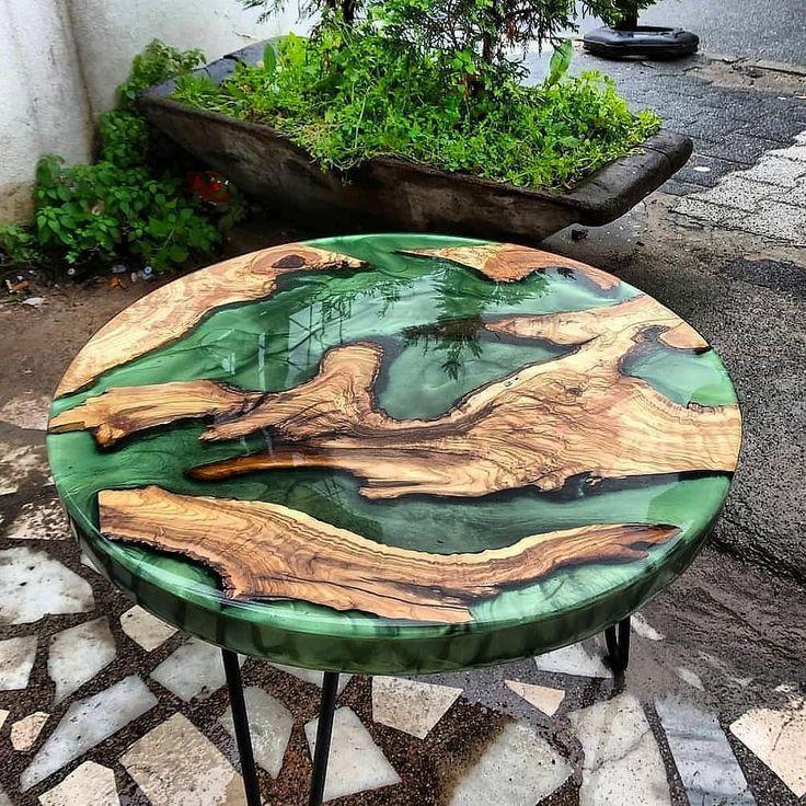 Natural olivee tree wood epoxy resin coffee table …