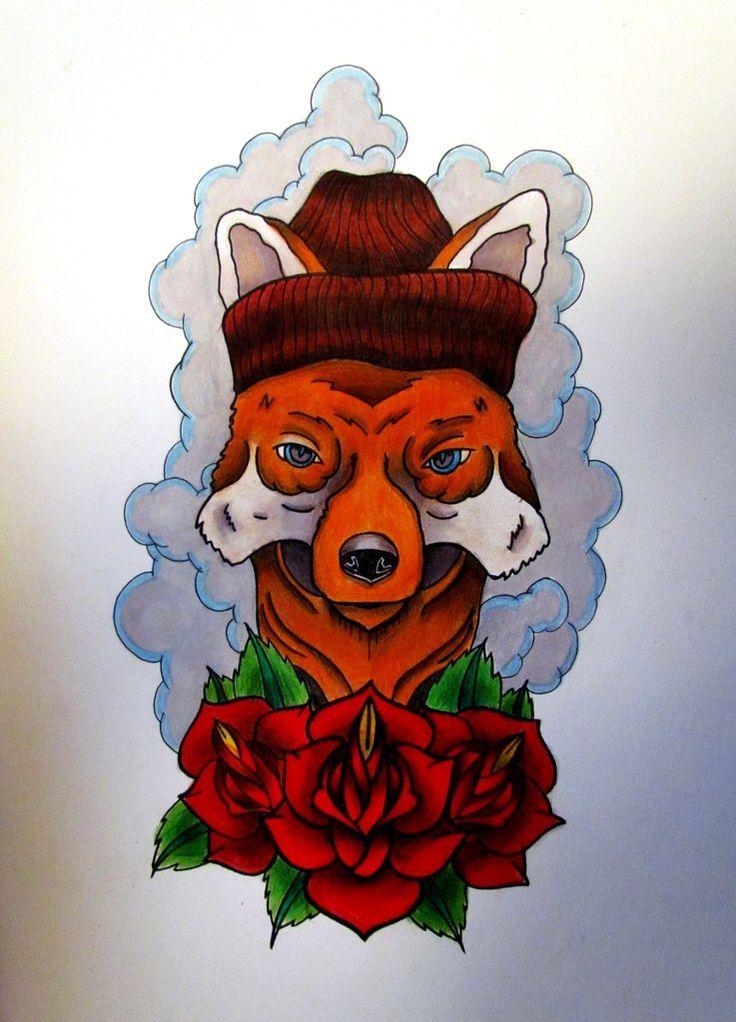 Fox tattoo flash