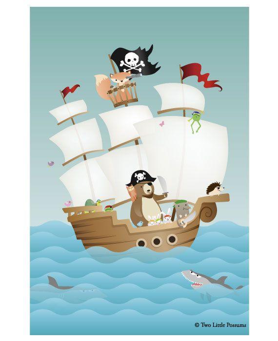 """8x12"""" - Nursery Art, Kids Art, Kids Wall Art - Forest Friends Pirate Adventure"""