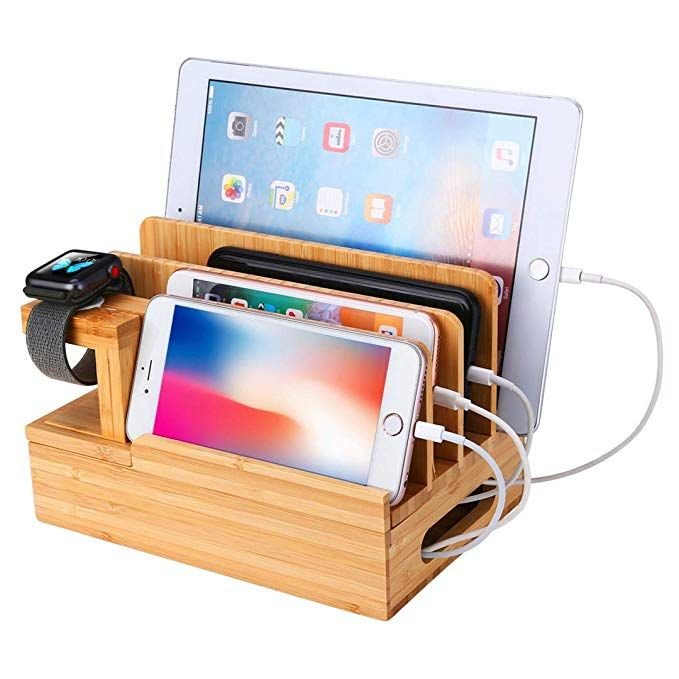 Bamboo Wood Charging Station A Wooden Multi Device Charging Station A Organizer For Charging Station Organizer Wooden Charging Station Charging Station Diy