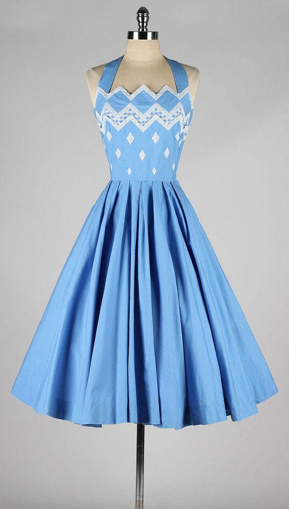 vintage 1950s halter neck blue cotton dress