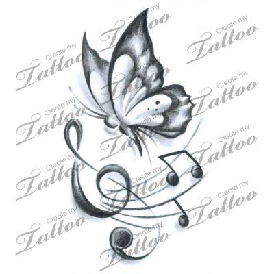 Marketplace Tattoo Butterfly Music #19176 | CreateMyTattoo.com