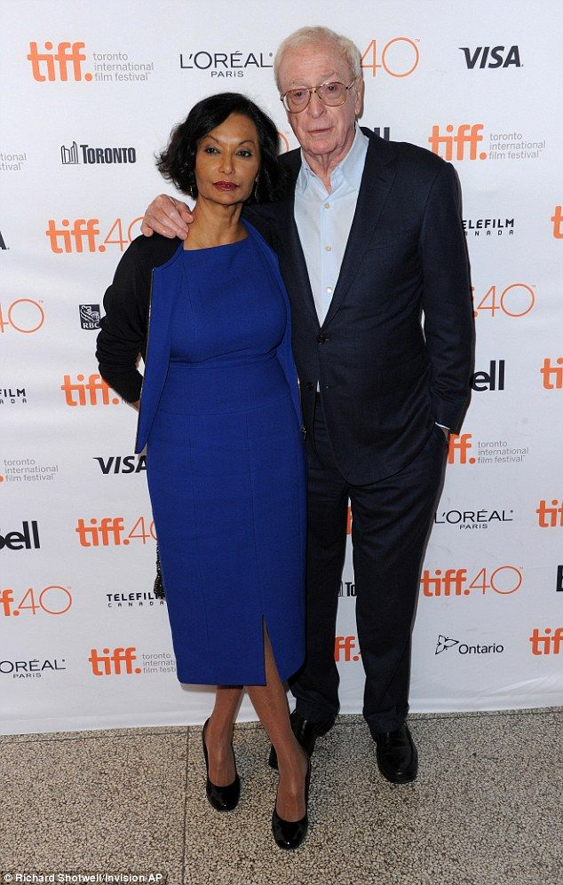 His leading lady: Michael Caine and his wife of 42 years Shakira looked as happy as ever as they attended the premiere of his new film Youth at the Toronto Film Festival at The Elgin, on Saturday
