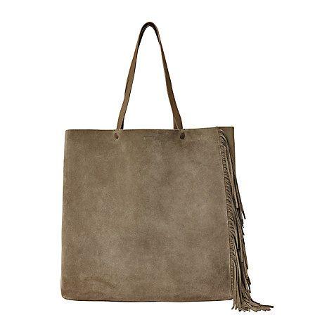 Buy AllSaints Club New Lea Fringe Tote Bag, Dark Khaki Green Online at johnlewis.com