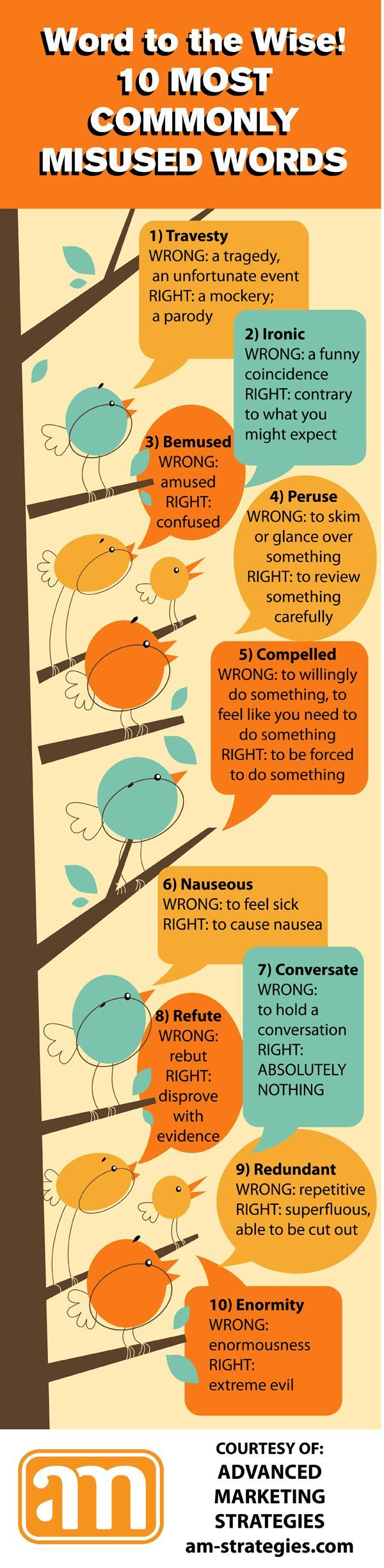 10 commonly misused words and cute birdies to make ignorance of them less painful.