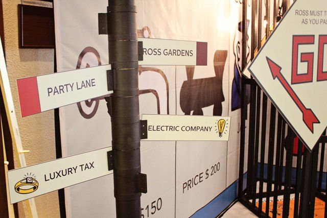 Ross' Monopoly Themed Party – Entrance / Photo Op Backdrop Details