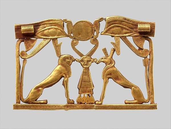 """Pectoral with an Opposing Seth Animal and Hieracosphinx (ca. 1981-1802 B.C.). Middle Kingdom, Egypt. Gold. The Metropolitan Museum of Art, New York. Lender Johns Hopkins University Archaeological Museum for Eton College, Windsor, England.    This work is featured in our """"Ancient Egypt Transformed: The Middle Kingdom"""" exhibition on view through January 24, 2016. #MiddleKingdomEgypt"""