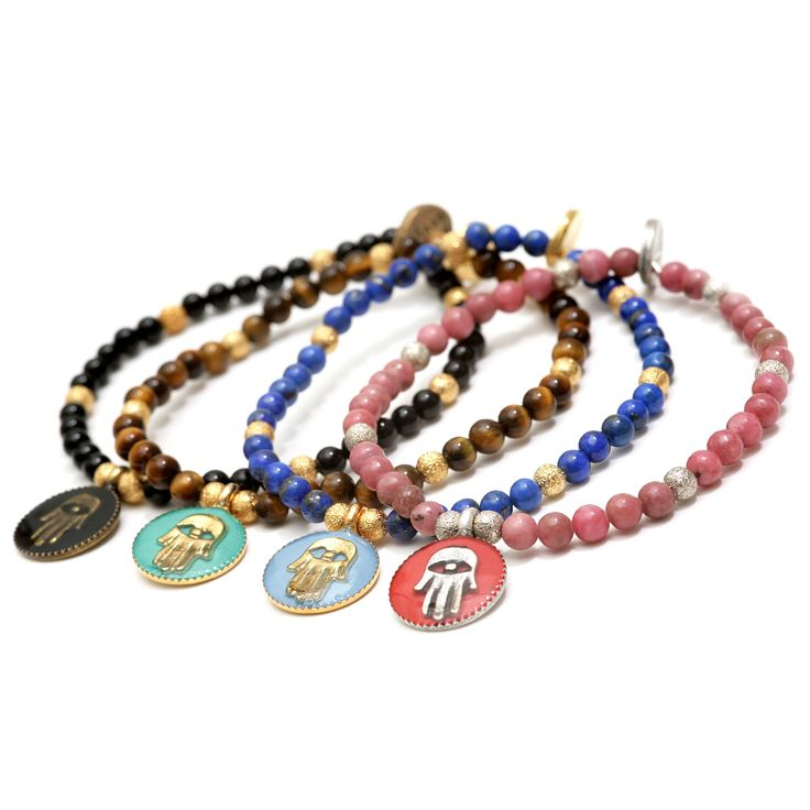 Dana Levy   Enamel Hamsa Hand Token Gemstone Bracelet