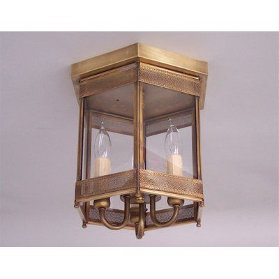 Astoria Grand Traditional 3-Light Outdoor Flush Mount Finish: Antique Copper, Shade Color: Oil Rubbed Bronze