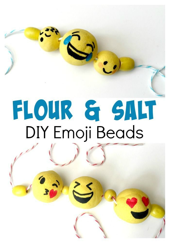 Love Emojis? Check out this awesome Emoji DIY How To - a great craft ideas using basic materials - made from salt dough, these emoji beads are cheap and super fun to make. Check out this versatile salt dough recipe and emoji tutorial!