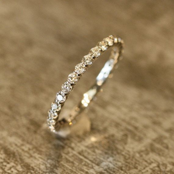 Petite Diamond Eternity Band Ring in 14k White door LaMoreDesign